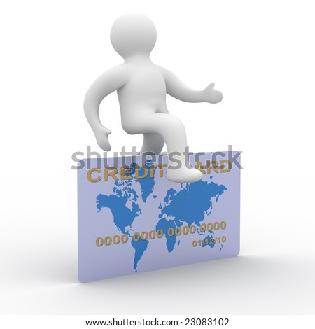 man jumping a credit card. 3D image - stock photo