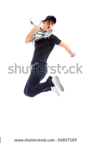 Man jumping isolated on white, with some motion blur to emphasize motion - stock photo