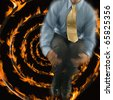Man jumping out of focus with fire spiral background - stock photo