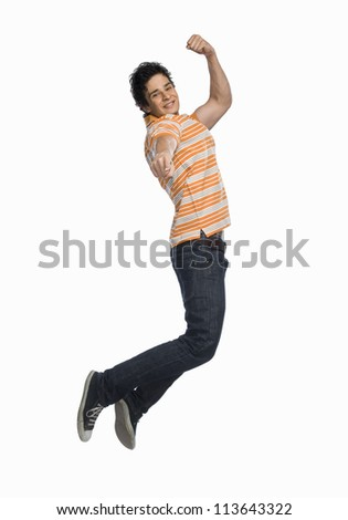 Man jumping with joy - stock photo