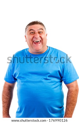 Man laughing hysterically at something hilarious with a funny expression on his face on white - stock photo