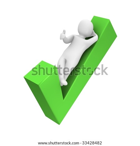 Man laying on check mark. 3d rendered illustration.