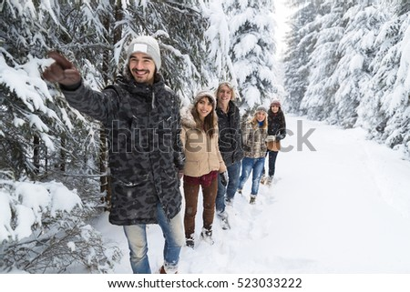 Man Lead Friends Group Snow Forest Young People Walking Outdoor Winter Pine Woods