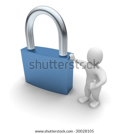 Man lean on padlock. 3d rendered illustration. - stock photo