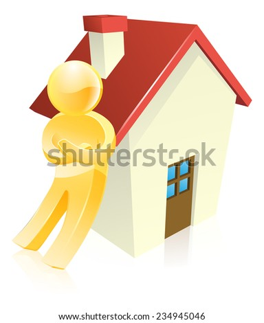Man leaning on a house real estate concept - stock photo