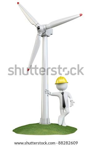 Man leaning on a wind turbine - stock photo