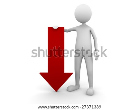 Man leaning to economy down arrow - stock photo