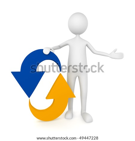Man leaning to recycle icon; great for motion, recycling concepts. - stock photo