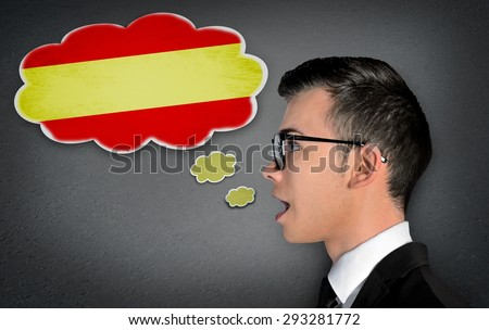 Man learn speaking spanish in bubble - stock photo