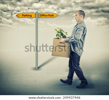 man leaving work - stock photo