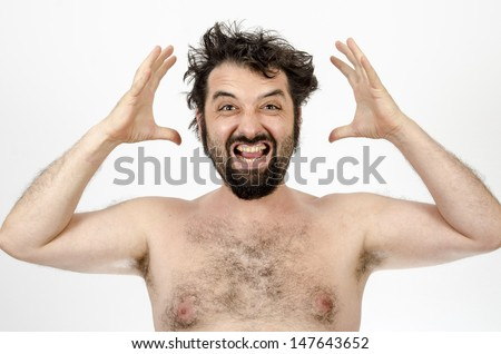 Man letting out frustration / Man letting out frustration by screaming off the top of his lungs - Isolated on white - stock photo