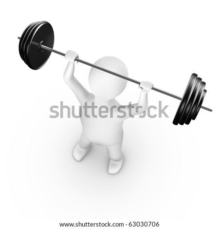 Man lifting weight, 3d render, isolated on white - stock photo