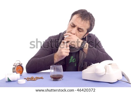 Man lighting up his cigarette isolated on white background - stock photo