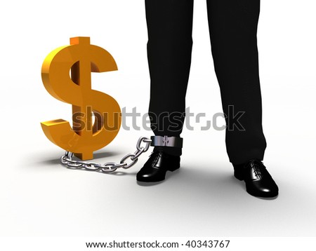 Man linced with golden dollar with a chain. - stock photo