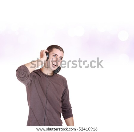 Man  Listening to Music over abstract background - stock photo