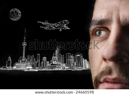 man looking a illustration of a city - stock photo