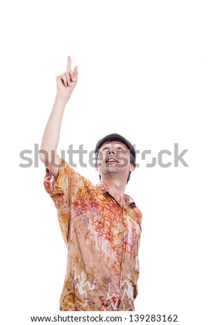 Man looking and pointing up, isolated on white background - stock photo