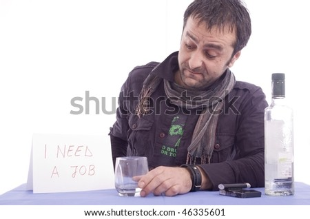 Man looking for a job isolated over white background - stock photo