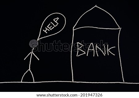 Man looking for financial help, going to bank, money concept, unusual - stock photo