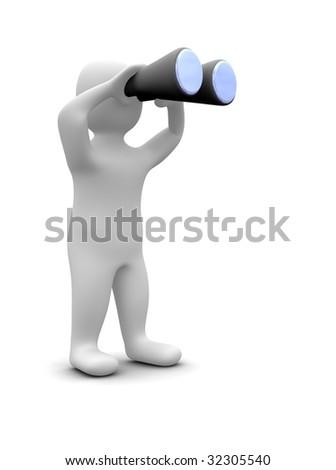 Man looking through binoculars. 3d rendered illustration. - stock photo