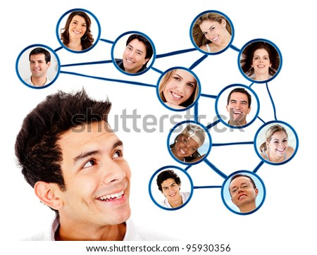 Man looking to his social network  - isolated over a white background - stock photo