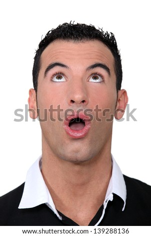 Man looking up. - stock photo