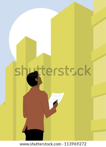 Man looking up at an office building and taking notes - stock photo