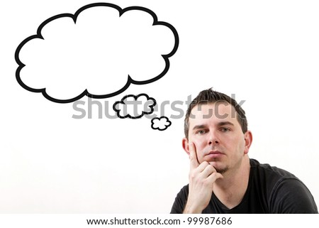Man lost in thoughts, clouds with copy space isolated on white - stock photo