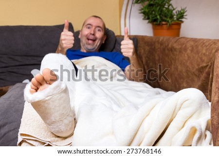 Image result for caricature of a man with a broken leg laid up on the couch