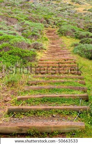 Man Made Trail Steps in Marin Headlands Park, California. - stock photo