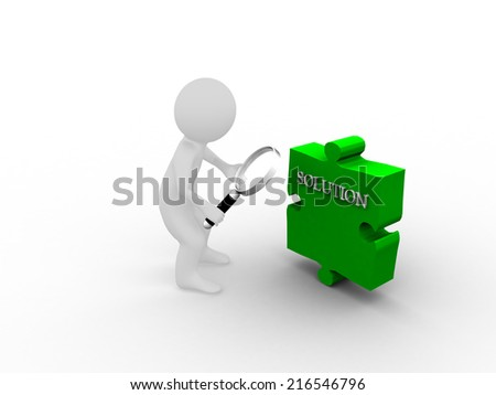 Man magnifying the solution - stock photo
