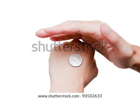 man make a decision by coin - stock photo