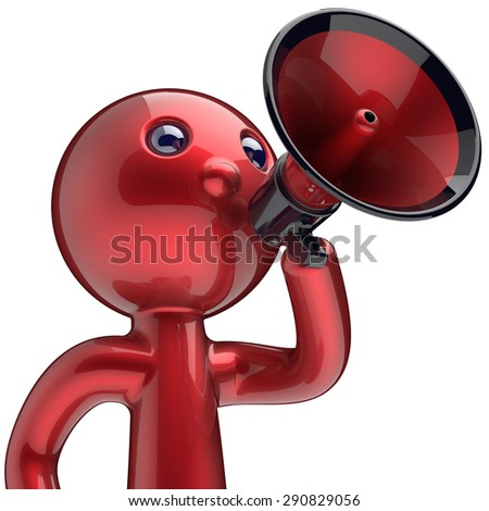 Man making announcement megaphone character red stylized human cartoon guy person speaking people communication speaker figure news icon concept. 3d render isolated - stock photo