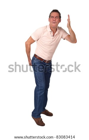Man Making Rude Gesture Indicating Smell and Touching Backside - stock photo