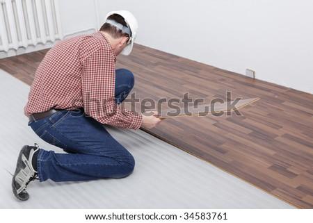 Man Making Laminate Flooring Installation Stock Photo Royalty Free