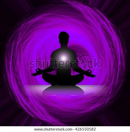 man meditate dark purple abstract background, yoga. ray. beam. Buddhist meditation, Hindu meditation. - stock photo