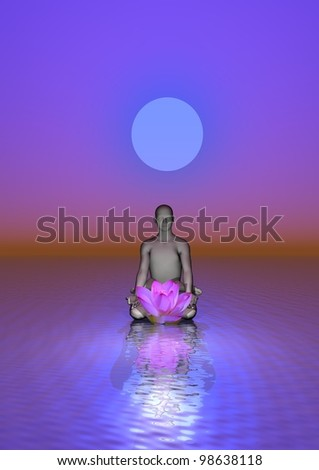 Man meditating in front of a waterlily upon the ocean and under the moon in violet background