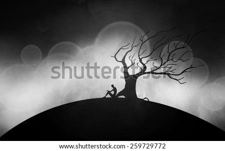 man meditating next to a tree silhouettes illustration - stock photo
