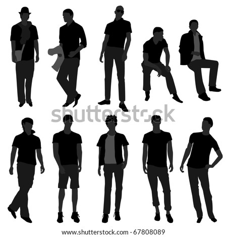 Man Men Male Fashion Shopping Model - stock photo