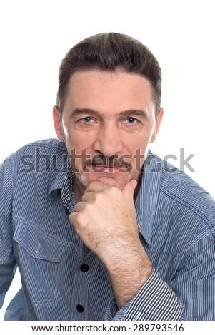 man middle aged gray beard shirt  looking camera - stock photo