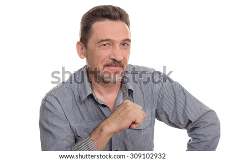 man middle aged gray beard shirt  looking camera