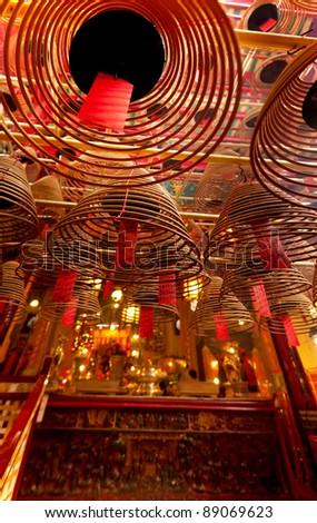Man Mo temple at Hong Kong - stock photo