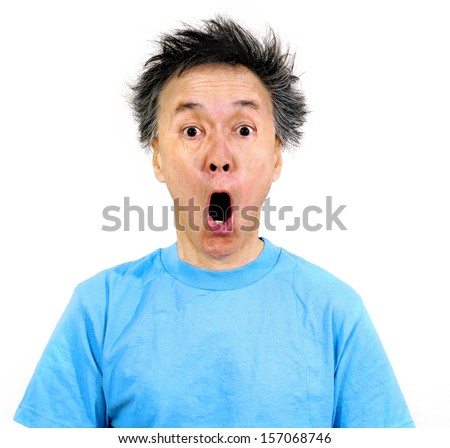man mouth open wide expression in shock at bad hair cut. isolated on white background