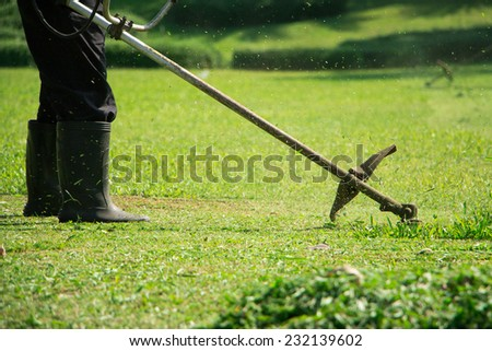 man mowing the grass - stock photo