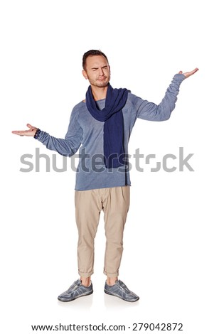 Man must choose concept. Full length hesitating man with close eyes holding opened palms  weighing something - blank copy spaces for your text or product, isolated on white background - stock photo
