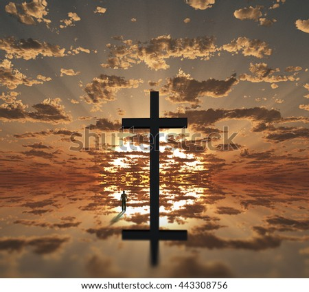 Man near giant cross with sunrise background 3D Render - stock photo