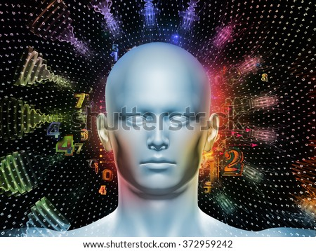 Man of Number series. Arrangement of human head, numbers and visual elements on the subject of human mind, modern technology, education and science - stock photo