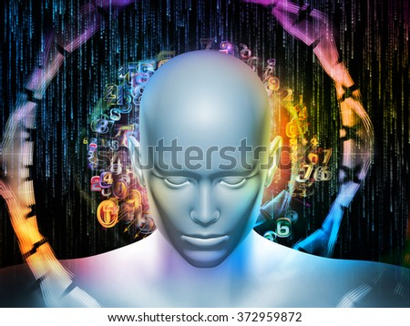 Man of Number series. Composition of human head, numbers and visual elements on the subject of human mind, modern technology, education and science - stock photo
