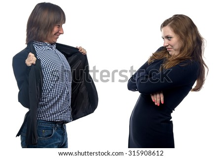 Man offering himself to woman on white background