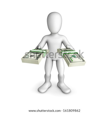 Man offers money in both hands illustration.Humorous illustration. Isolated 3D image on the white background.